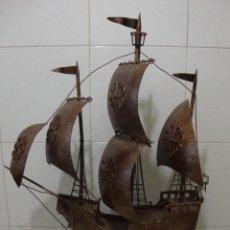 Antigüedades: INTRERESANTE Y ANTIGUA CARABELA DE HIERRO FORJADO GRAN TAMAÑO. Lote 59504079