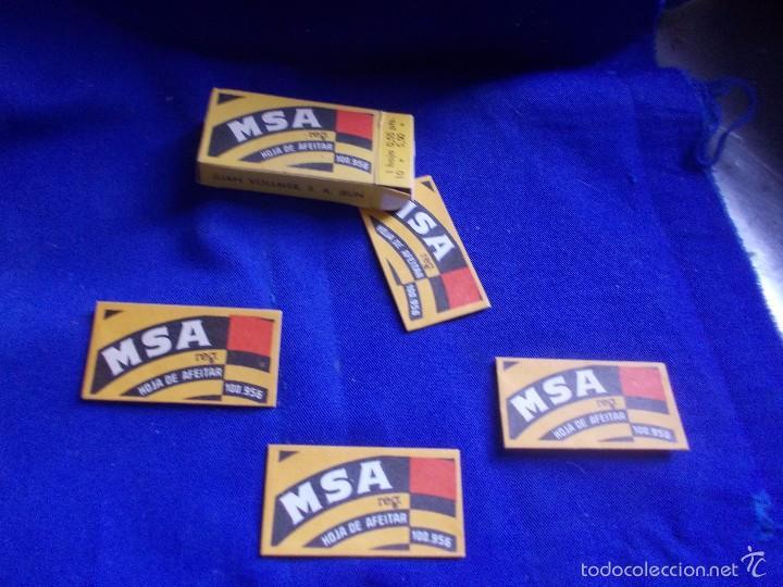 Antigüedades: hojas de afeitar msa -4 y caja - Foto 2 - 59777704