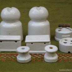 Antigüedades: LOTE PARA ELECTRICIDAD ANTIGUOS EN PORCELANA.. Lote 59959647