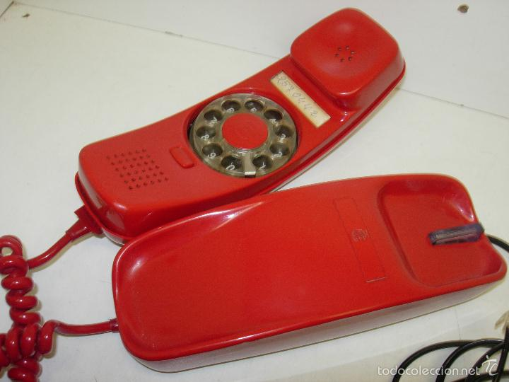 ANTIGUO TELÉFONO ROJO MODELO GONDOLA CITESA MALAGA CON TOMA ACTUAL FUNCIONANDO (Antigüedades - Técnicas - Teléfonos Antiguos)