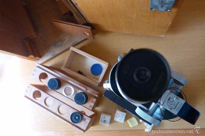 Antigüedades: MICROSCOPIO ANTIGUO ALEMÁN (KARL ZANGER WETZLAR) CON ACCESORIOS, CAJA Y LLAVE - Foto 5 - 60202575