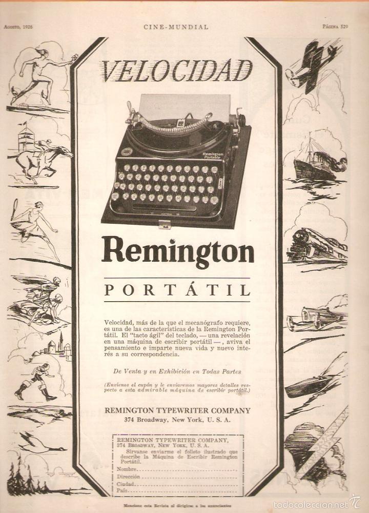 PUBLICIDAD REMINGTON, AÑO 1926 ,ORIGINAL, MAQUINA ESCRIBIR. 22 X 30 CMSVELL I BELL. (Antigüedades - Técnicas - Máquinas de Escribir Antiguas - Remington)