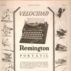 Antigüedades: PUBLICIDAD REMINGTON, AÑO 1926 ,ORIGINAL, MAQUINA ESCRIBIR. 22 X 30 CMSVELL I BELL.. Lote 60297455