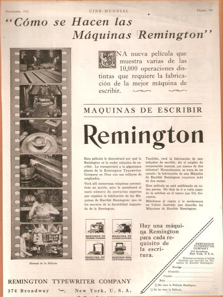 PUBLICIDAD REMINGTON, AÑO 1926 ,ORIGINAL, MAQUINA ESCRIBIR.. 22 X 30 CMSVELL I BELL. (Antigüedades - Técnicas - Máquinas de Escribir Antiguas - Remington)
