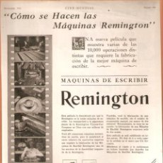 Antigüedades: PUBLICIDAD REMINGTON, AÑO 1926 ,ORIGINAL, MAQUINA ESCRIBIR.. 22 X 30 CMSVELL I BELL.. Lote 60297587