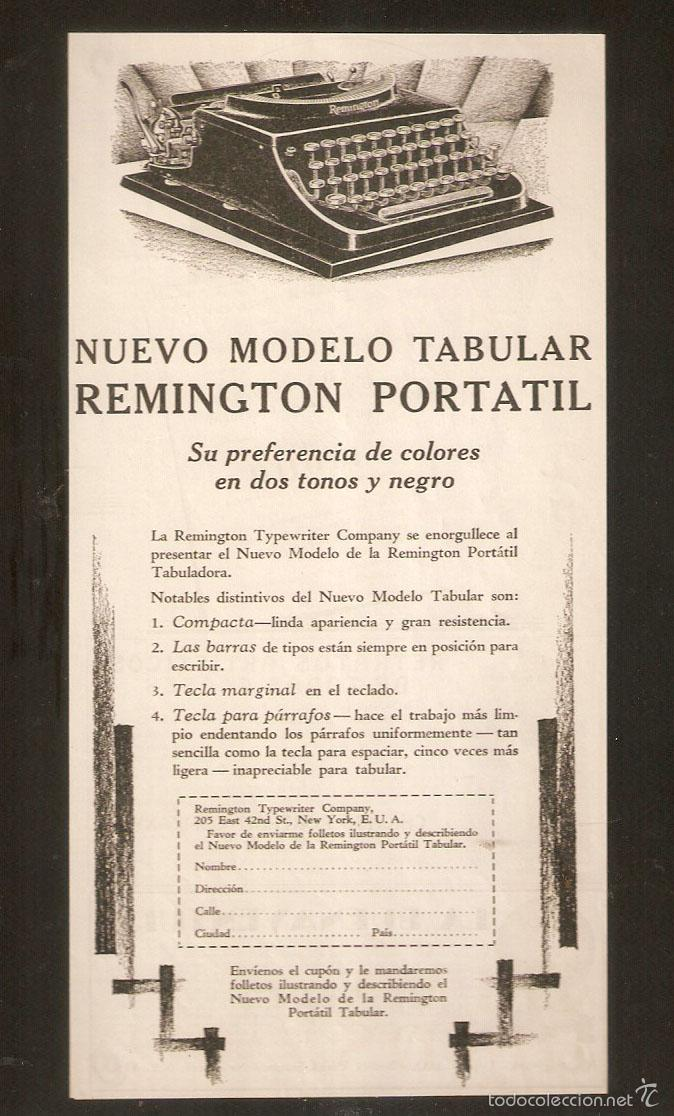 PUBLICIDAD REMINGTON, AÑOS 20 ,ORIGINAL, MAQUINA ESCRIBIR. 13,50 X27CMS. VELL I BELL. (Antigüedades - Técnicas - Máquinas de Escribir Antiguas - Remington)