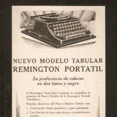 Antigüedades: PUBLICIDAD REMINGTON, AÑOS 20 ,ORIGINAL, MAQUINA ESCRIBIR. 13,50 X27CMS. VELL I BELL.. Lote 60297711