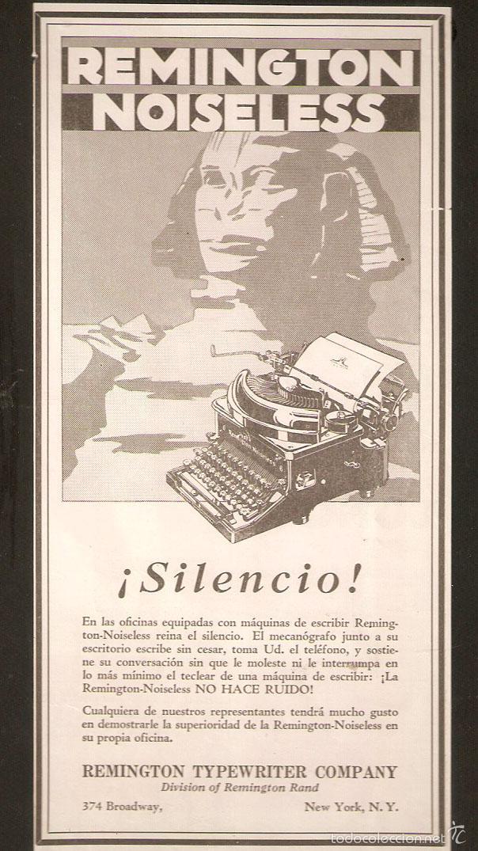 PUBLICIDAD REMINGTON, AÑOS 20 ,ORIGINAL, MAQUINA ESCRIBIR. 13,50 X 27CMS. VELL I BELL. (Antigüedades - Técnicas - Máquinas de Escribir Antiguas - Remington)