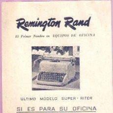 Antigüedades: PUBLICIDAD REMINGTON RAND. CUBA, ORIGINAL, MAQUINA ESCRIBIR.. 11,50 X 17CMS. VELL I BELL.. Lote 60297995