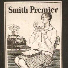 Antigüedades: PUBLICIDAD SMITH PREMIER. ORIGINAL, MAQUINA ESCRIBIR.. 13X 27CMS. VELL I BELL.. Lote 60298147