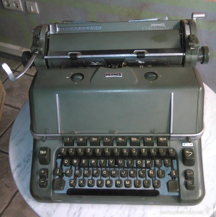 MÁQUINA DE ESCRIBIR ANTIGUA HERMES AMBASSADOR. MODELO MECÁNICO SUIZO DE 1952. PAILLARD, SUIZA. (Antigüedades - Técnicas - Máquinas de Escribir Antiguas - Hermes)
