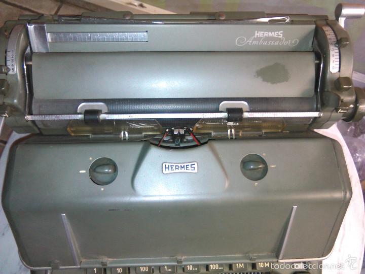 Antigüedades: Máquina de Escribir Antigua Hermes Ambassador. Modelo Mecánico Suizo de 1952. Paillard, Suiza. - Foto 2 - 60355867