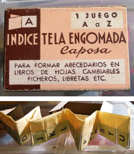 ÍNDICE DE TELA ENGOMADA. JUEGO DE A LA Z. CAPOSA. AÑOS 40-50. ARTÍCULO DE IMPRENTA ANTIGUA. (Antigüedades - Técnicas - Herramientas Profesionales - Imprenta)
