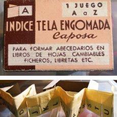 Antigüedades: ÍNDICE DE TELA ENGOMADA. JUEGO DE A LA Z. CAPOSA. AÑOS 40-50. ARTÍCULO DE IMPRENTA ANTIGUA.. Lote 60375951