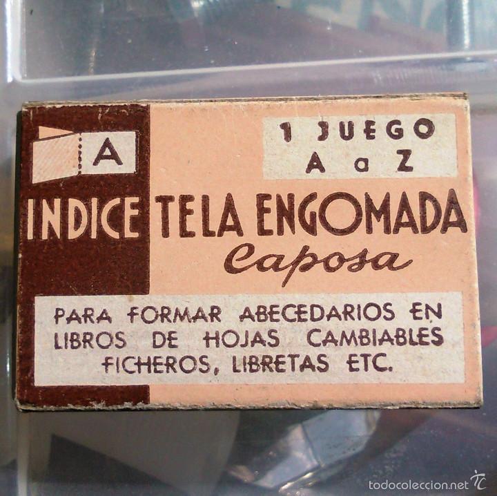 Antigüedades: Índice de Tela Engomada. Juego de A la Z. Caposa. Años 40-50. Artículo de Imprenta Antigua. - Foto 2 - 60375951