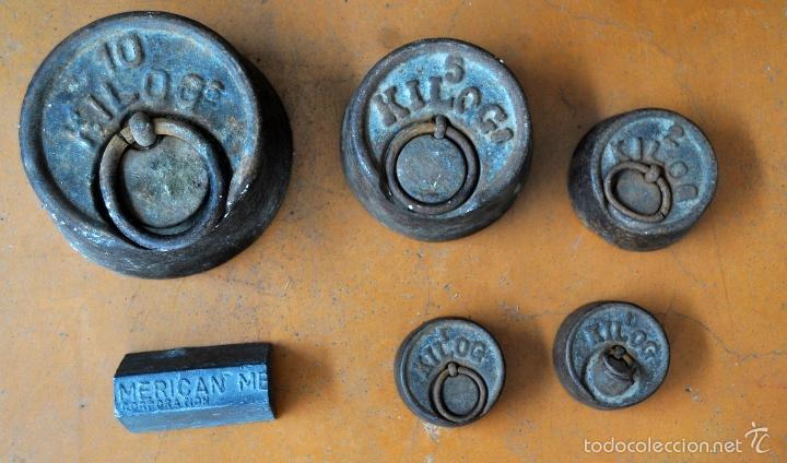 Antigüedades: GIGANTESCA BALANZA EN HIERRO CON VARIOS PESOS. SIGLO XIX - Foto 7 - 60510703