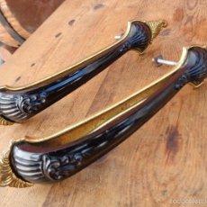 Antigüedades: 2 TIRADORES DE BAQUELITA NEGRA, ANTIGUOS ALEMAN. Lote 60874339