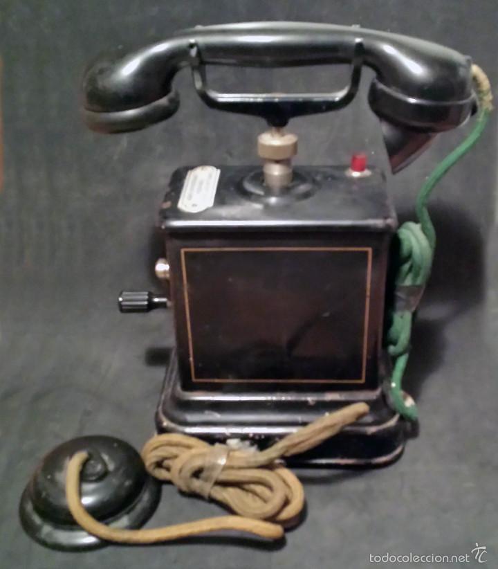 TELEFONO ANTIGUO DE MANIVELA, EN METAL - VER FOTOS (Antigüedades - Técnicas - Teléfonos Antiguos)