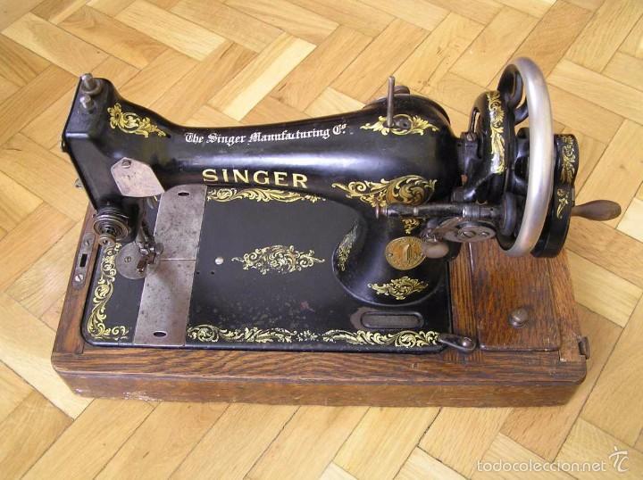 Antigüedades: MAQUINA DE COSER SINGER 28K DE MANIVELA - PORTATIL - CON SU TAPA - Foto 25 - 60987231
