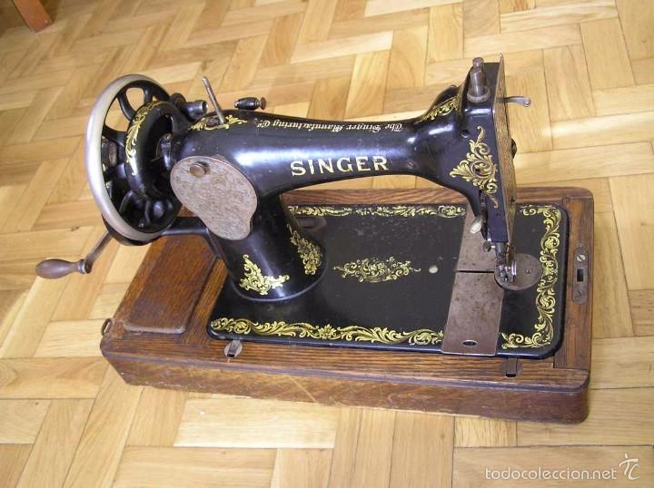 Antigüedades: MAQUINA DE COSER SINGER 28K DE MANIVELA - PORTATIL - CON SU TAPA - Foto 53 - 60987231