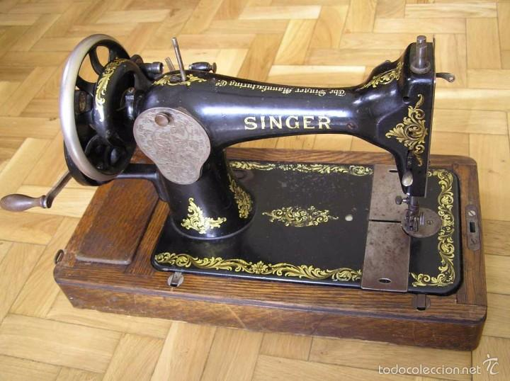 Antigüedades: MAQUINA DE COSER SINGER 28K DE MANIVELA - PORTATIL - CON SU TAPA - Foto 54 - 60987231