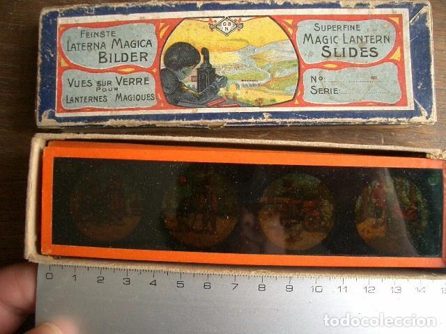 CAJA CON PLACAS DE LINTERNA MÁGICA CON CUENTOS. FINALES DEL XIX. VER FOTOS (Antigüedades - Técnicas - Aparatos de Cine Antiguo - Linternas Mágicas Antiguas)