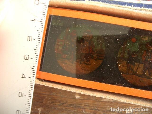 Antigüedades: Caja con placas de linterna mágica con cuentos. Finales del XIX. Ver fotos - Foto 2 - 61898372