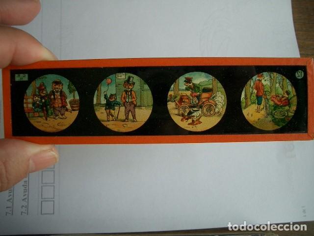 Antigüedades: Caja con placas de linterna mágica con cuentos. Finales del XIX. Ver fotos - Foto 3 - 61898372