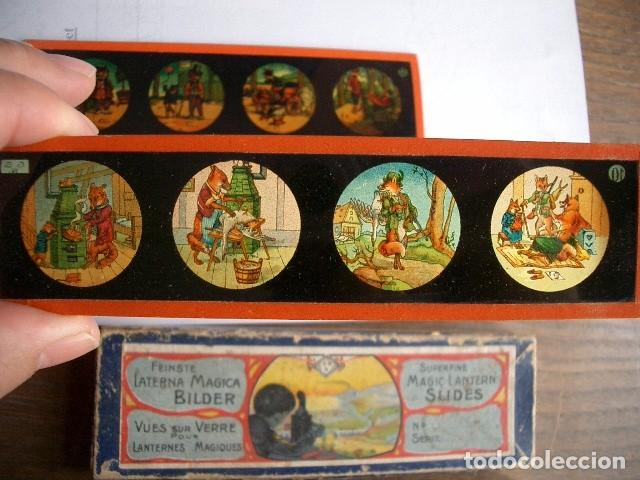 Antigüedades: Caja con placas de linterna mágica con cuentos. Finales del XIX. Ver fotos - Foto 4 - 61898372