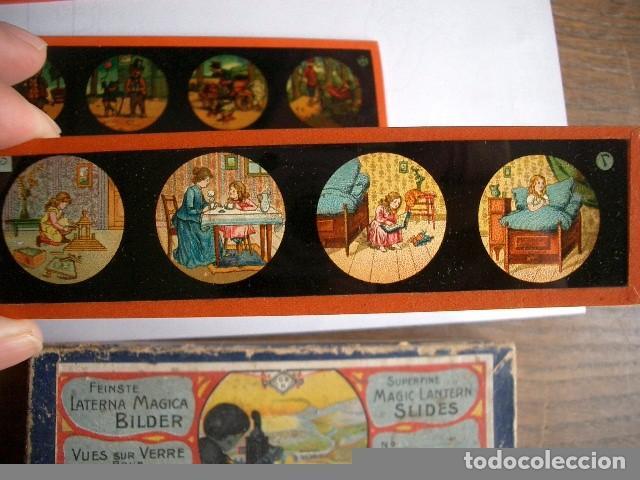 Antigüedades: Caja con placas de linterna mágica con cuentos. Finales del XIX. Ver fotos - Foto 5 - 61898372