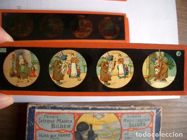 Antigüedades: Caja con placas de linterna mágica con cuentos. Finales del XIX. Ver fotos - Foto 6 - 61898372