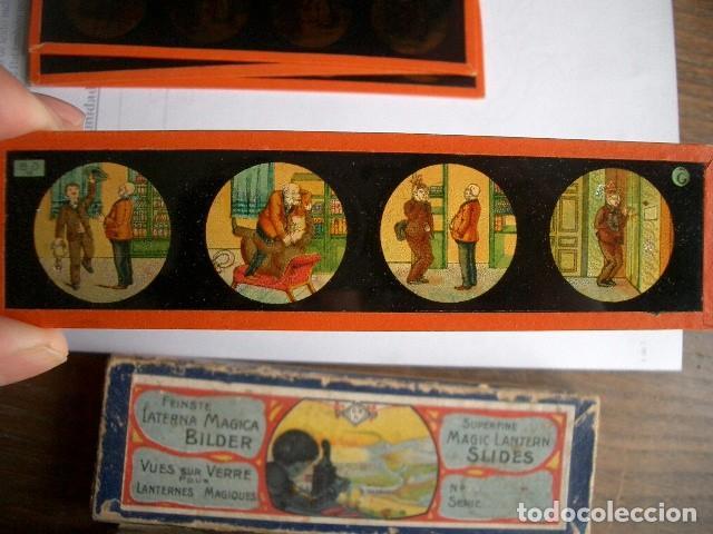 Antigüedades: Caja con placas de linterna mágica con cuentos. Finales del XIX. Ver fotos - Foto 7 - 61898372
