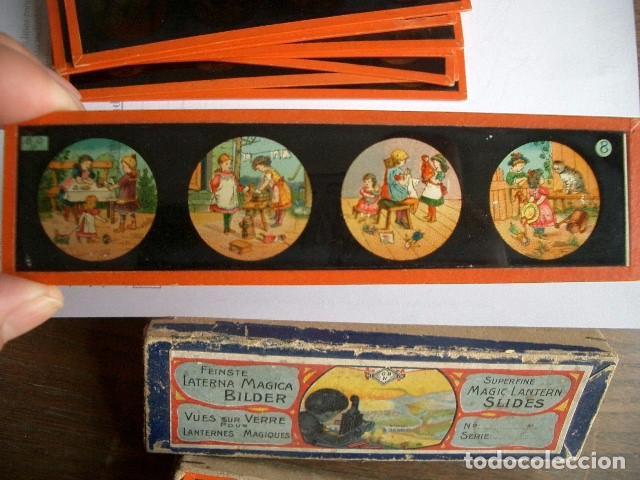Antigüedades: Caja con placas de linterna mágica con cuentos. Finales del XIX. Ver fotos - Foto 11 - 61898372