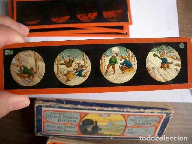 Antigüedades: Caja con placas de linterna mágica con cuentos. Finales del XIX. Ver fotos - Foto 12 - 61898372