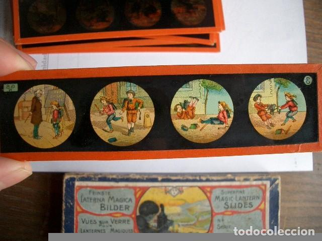 Antigüedades: Caja con placas de linterna mágica con cuentos. Finales del XIX. Ver fotos - Foto 13 - 61898372