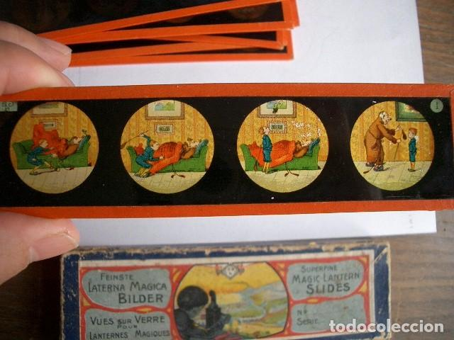 Antigüedades: Caja con placas de linterna mágica con cuentos. Finales del XIX. Ver fotos - Foto 14 - 61898372