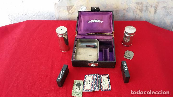 Antigüedades: neceser de cuchillas, jabon y escobillas - Foto 2 - 62569072