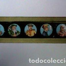 Antigüedades: CRISTAL PINTADO DE LINTERNA MÁGICA SIGLO XIX - 10 POR 2 CM - SEÑORES FUMANDO. Lote 63021816