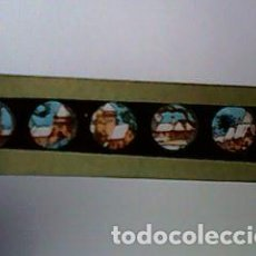 Antigüedades: CRISTAL PINTADO DE LINTERNA MÁGICA SIGLO XIX - 10 POR 2 CM - EDIFICIOS NEVADOS. Lote 63021864