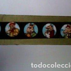 Antigüedades: CRISTAL PINTADO DE LINTERNA MÁGICA SIGLO XIX - 10 POR 2 CM - ANIMALES HUMANIZADOS. Lote 63022052