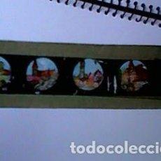 Antigüedades: CRISTAL PINTADO DE LINTERNA MÁGICA SIGLO XIX - 10 POR 2 CM - EDIFICIOS. Lote 63022292