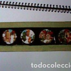 Antigüedades: CRISTAL PINTADO DE LINTERNA MÁGICA SIGLO XIX - 10 POR 2 CM - EDIFICIOS 2. Lote 63022436