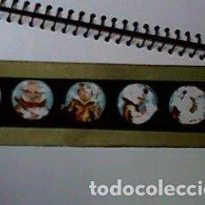 Antigüedades: CRISTAL PINTADO DE LINTERNA MÁGICA SIGLO XIX - 10 POR 2 CM - PAYASOS. Lote 63022600