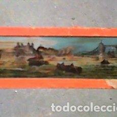 Antigüedades: CRISTAL PINTADO DE LINTERNA MÁGICA SIGLO XIX -11 POR 2,90 CM- PANORÁMICA DE LONDR DESDE EL TAMESIS. Lote 63024160