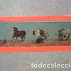Antigüedades: CRISTAL PINTADO LINTERNA MÁGICA SIGLO XIX - 11 POR 3 CM- ESCENAS DE CIRCO. Lote 63025548