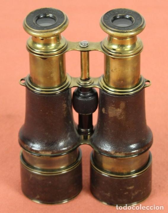 Antigüedades: PRISMÁTICOS EN LATÓN Y CUERO. LEMAIRE. FRANCIA. PRINC. SIGLO. XIX. - Foto 12 - 63521480