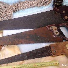 Antigüedades: VIEJOS SERRUCHOS DE CARPINTERO, EBANISTA. TRES UNIDADES. ESTADO REGULAR.. Lote 63624315