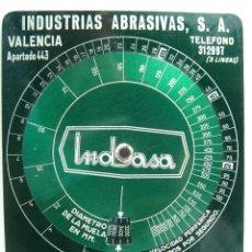 Antigüedades: CALCULADOR DE VELOCIDADES - INDUSTRIAS ABRASIVAS S.A. VALENCIA - METAL - PERIFERICAS POR SEGUNDO. Lote 64215879