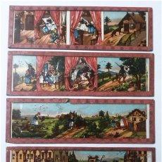 Antigüedades: LOTE DE 4 CRISTALES PARA LINTERNA MAGICA. Lote 64770655