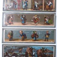 Antigüedades: LOTE DE 4 CRISTALES PARA LINTERNA MAGICA. Lote 64770703